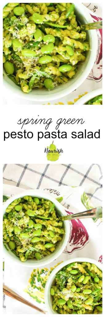 Simple Spring Green Pesto Pasta with Homemade Pesto | a quick weeknight meal that is freezer friendly, easy, healthy, vegetarian, has a versatile sauce with basil and spinach or arugula, and so good | www.nourishnutritionblog.com