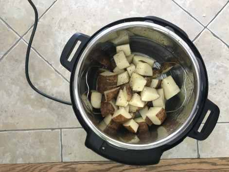 Raw, Cubed Potatoes in Instant Pot
