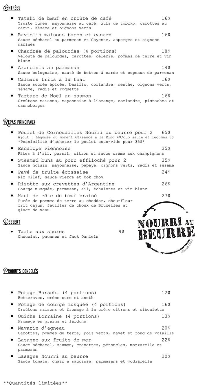 Menu Nourri au beurre : du 18 janvier au 23 janvier 2021
