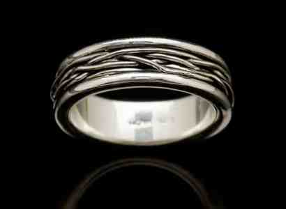 Silver Ring with Silver Wire Wrap-r42silsm