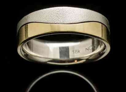 Silver Ring with Yellow Gold Wave-r187y
