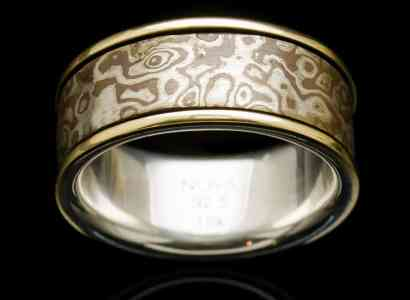 Silver Mogume Gane Ring with Yellow Gold-r272lg
