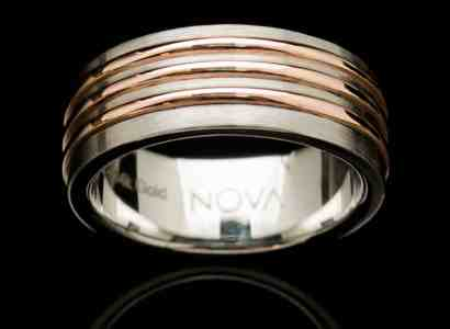Stainless Steel Ring with Rose Gold Inlays-rs2