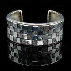 Sterling Silver Bangle Textured Bracelet (BR54)