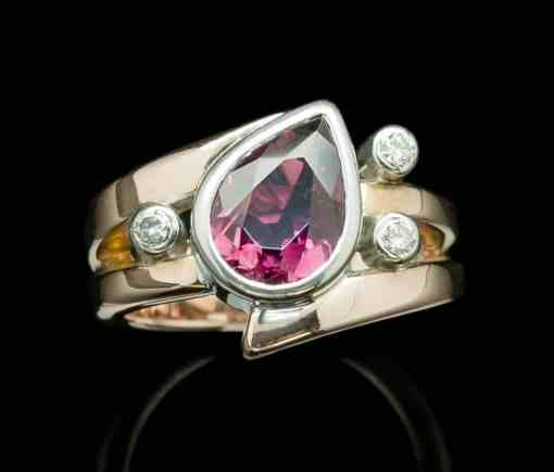18k White+9k Rose Gold+ Rubelite+ 0.15ct diamond (GR21-30/dia)