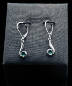 Sterling Silver Earrings with Created Emerald (ER102-25)