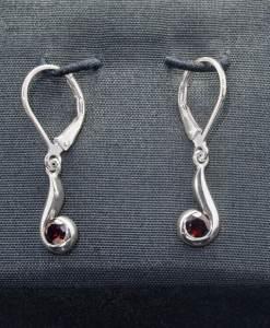 Sterling Silver Earrings with Garnet (ER102-3)