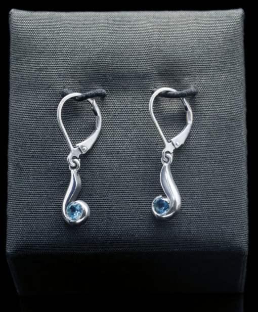 Sterling Silver Earrings with Blue Topaz (ER102-4)