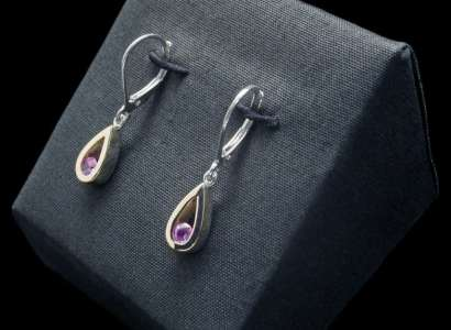 18k Gold Earrings with Sterling Silver and Pink Sapphire (ER103-9)