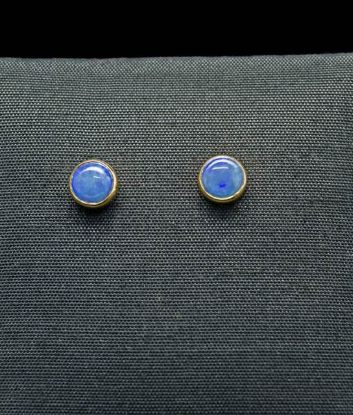Natural Opal & 18k gold earrings with Silver (ER58G)