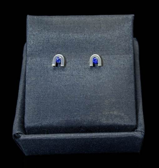 Sterling Silver Earrings with Round Cut Sapphire (ER60-7)