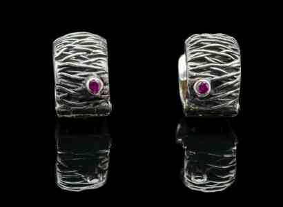 Ruby Earrings with Sterling Silver (ER86 sil)