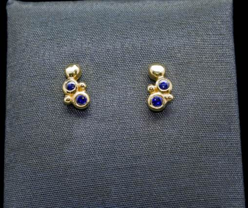 18k Gold Earrings with Sterling Silver and Sapphire (ER95-7)