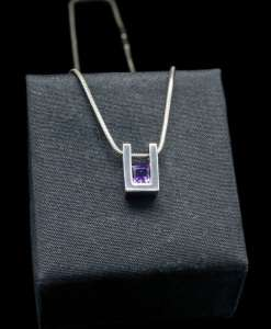 Sterling Silver Pendant with Princess Cut Amathyst (PN55-1)