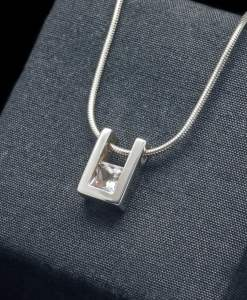 Sterling Silver Pendant with White Topaz (PN55-24)