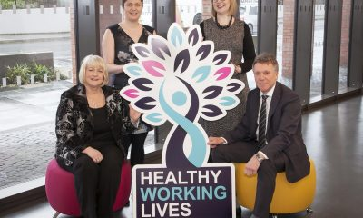 Pictured at the Conference: (back row) Lizzie Yardley, Chartered Occupational Psychologist, Pearn Kandola and Megan Horsburgh, Head of Diversity and Inclusion, Sodexo; (front row) Janet Calvert, Health and Wellbeing Improvement Manager, Public Health Agency and Kieran Harding, Managing Director, Business in the Community.