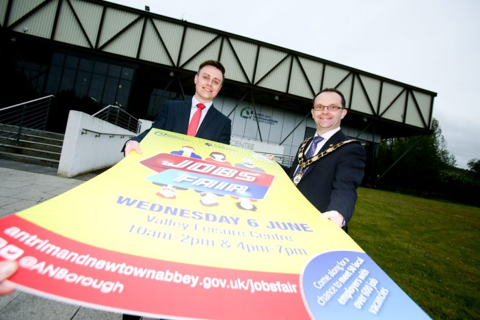 The Mayor, Councillor Paul Hamill and Stephen McGlew (DfC) look forward to the upcoming jobs fair.