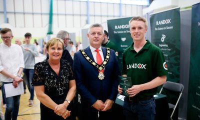 Jacqui Dixon, Chief Executive of Antrim and Newtownabbey Borough Council and The Mayor, Councillor Paul Michael are pictured with Gareth from Randox at the Jobs Fair.