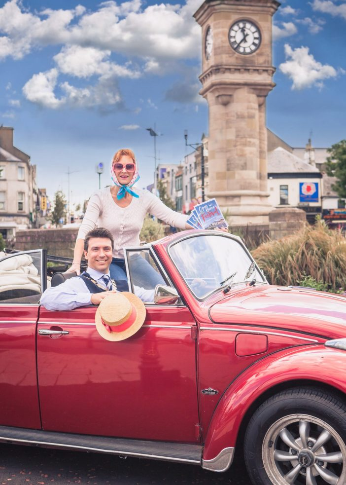 Open House Festival Manager, Alison Gordon, and Mayor of Ards and North Down, Councillor Richard Smart, start the countdown to a month of 144 festival events in Bangor-by-the sea.