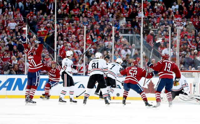 Jan 1, 2015; Washington, DC, USA; in the third period during the 2015 Winter Classic hockey game at Nationals Park. Mandatory Credit: Geoff Burke-USA TODAY Sports