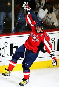 Washington Capitals' Alex Ovechkin, of Russia, reacts after scoring a goal against New York Rangers goalie Stephen Valiquette during the second period of an NHL hockey game Saturday, Jan. 3, 2009, in Washington. (AP Photo/Luis M. Alvarez)   Original Filename: Rangers_Capitals_Hockey_VZN112.jpg