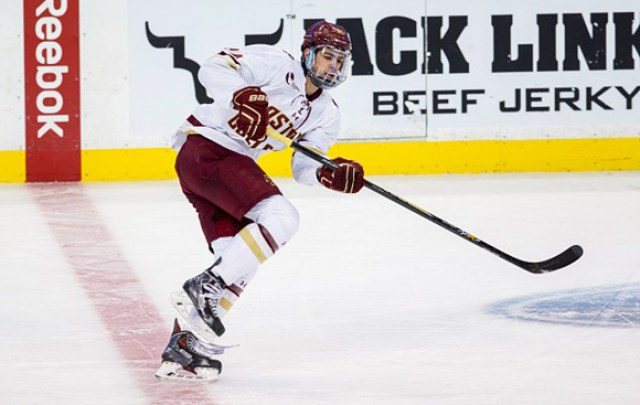 BOSTON, MA - FEBRUARY 3: Zach Sanford #24 of the Boston College Eagles skates against the Northeastern Huskies during NCAA hockey in the semifinals of the annual Beanpot Hockey Tournament at TD Garden on February 3, 2015 in Boston, Massachusetts. The Huskies won 3-2. (Photo by Richard T Gagnon/Getty Images)