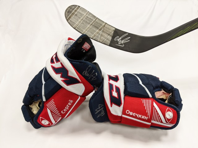Ovechkin gloves and stick