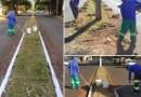 Prefeitura de Orlândia está realizando limpeza, roçada, raspagem e pintura dos canteiros centrais