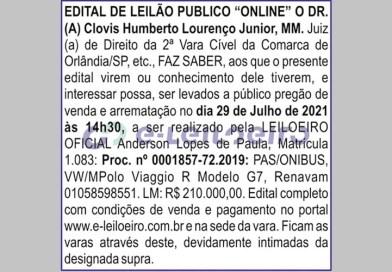 Edital de Leilão – 2º Vara de Orlândia (24/07/2021)