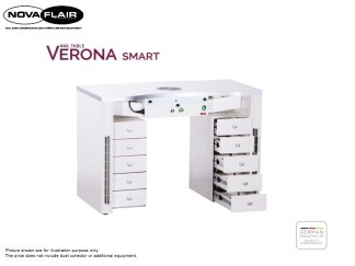 Verona Smart Nail Table Integrated LED Lighting Nova Flair UK