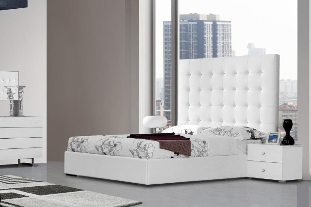 Lyrica White Bonded Leather Tall Headboard Bed NOVA Interiors