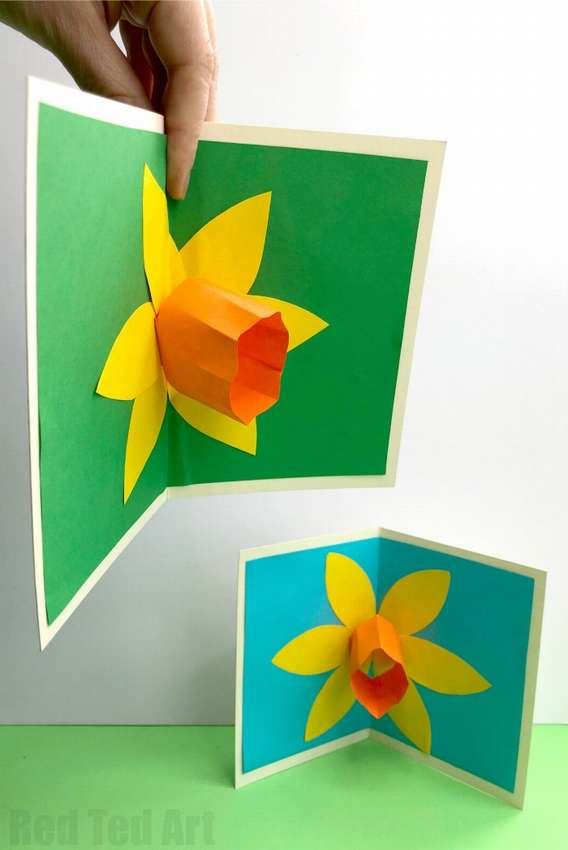 Postcard with a bulk paper flower with your own hands