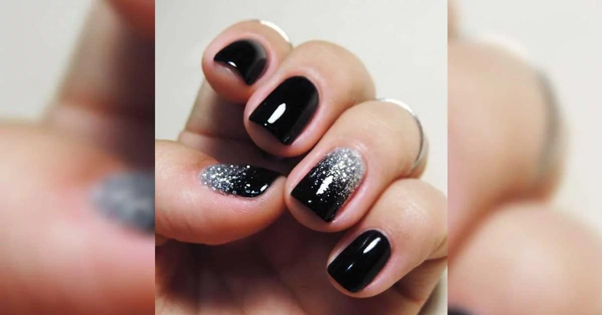 Unhas Pretas Ombré com Glitter Prata