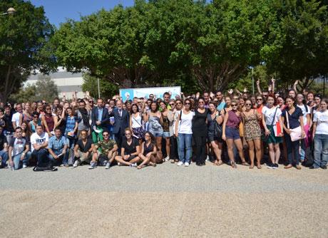 Algunos de los estudiantes de Erasmus que estudian en la UAL.
