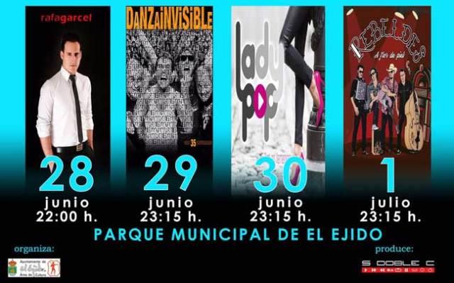 Carteles de los conciertos de San Isidro en el municipio ejidense.