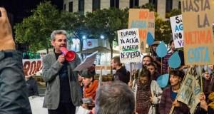 José María Calaforra en la manifestación del 4 de noviembre de 2017 contra la sobreexplotación de los acuíferos almerienses