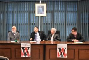 Stuart Walters, Manuel Barea, Francisco Javier García y Luis Díaz en la presentación de las V Jornadas de Masónería en Almería