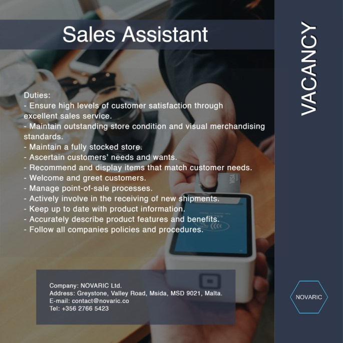 NOVARIC Advert Sales Assistant 07052020