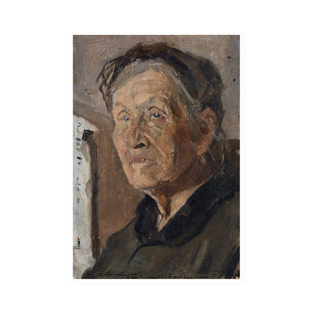 Portret starushki, hudozhnik Ganzhinskij
