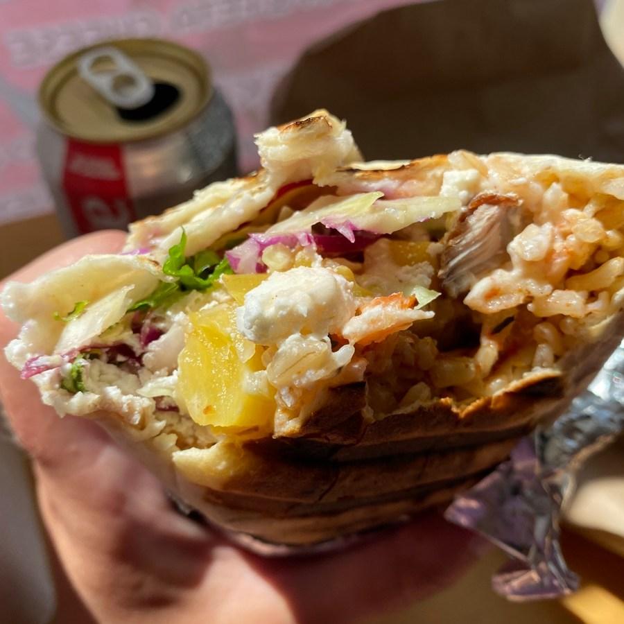 la bandida pork and pineapple salsa burrito at the rascals run burrito bar in lunenburg