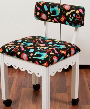Arrow Sewing Chair White Riley Blake fabric