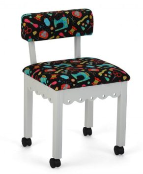 Arrow - BLACK FABRIC SEWING NOTIONS SEWING CHAIR. ( WHITE )