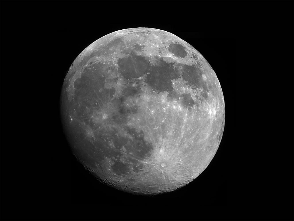 Månen fotograferet 3 døgn før fuldmåne. Jørgen Schiøtt og Martin Sparre anvendte observatoriets Meade DSI Pro Camera på observatoriets 4