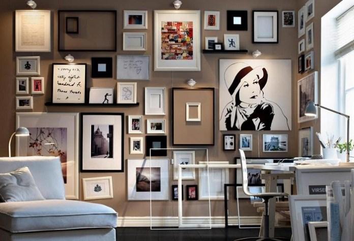 Много картин в качестве настенного декора. / Фото: kvartblog.mediasole.ru