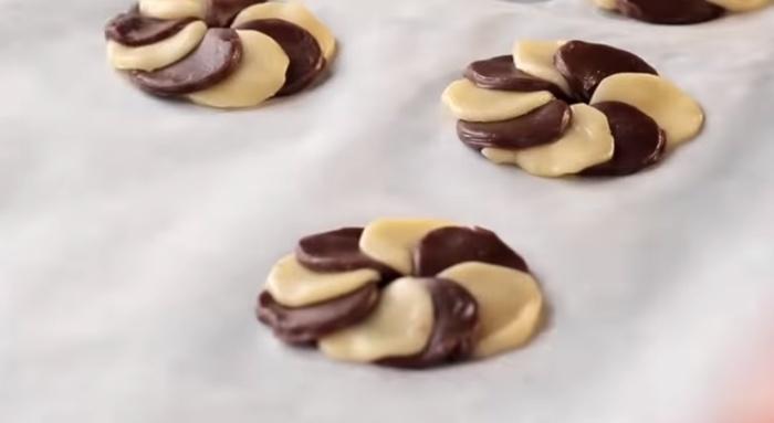 Cookies sob a forma de um anel de duas cores facilmente formado a partir do teste ordinário e de chocolate.