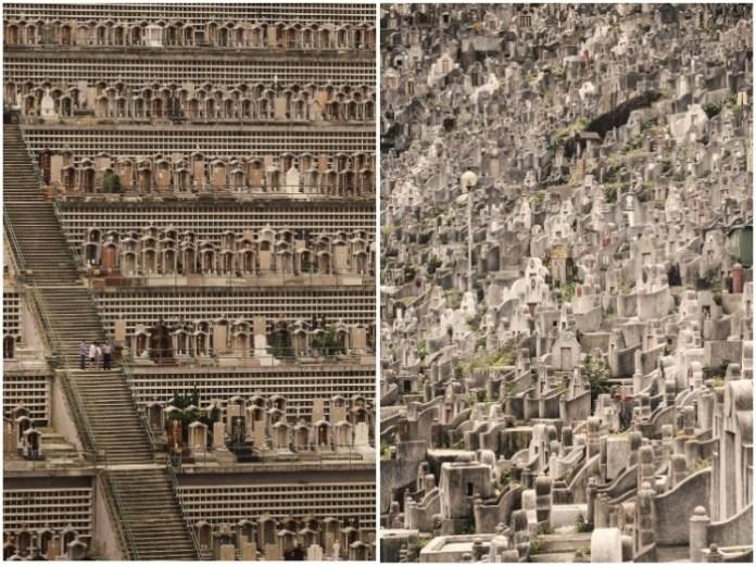 Нехватка земли превращает территорию кладбища в невероятное скопление могил (Гонконг). | Фото: archdaily.com/ Finbarr Fallon.