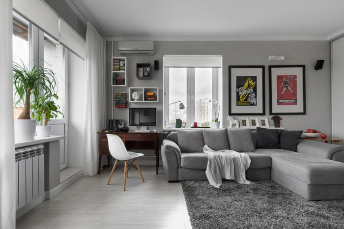 Modern-Moscow-Apartment-with-Full-of-Neutral-Coziness-in-Grey-and-White-Tone-Showing-Gret-Rug-and-Grey-Sofa-Design-with-Window-Shelving-936x624