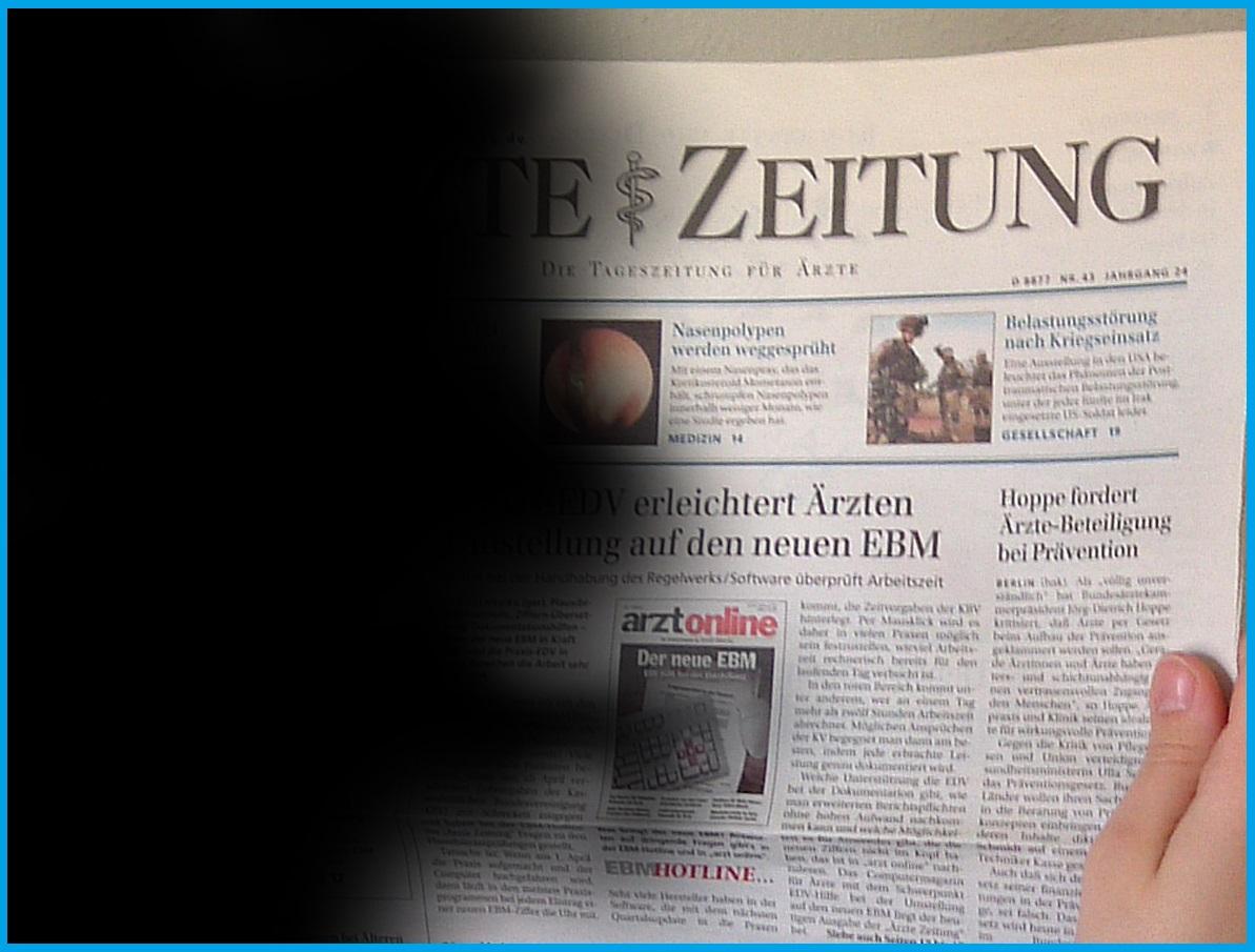 Zeitung mit Hemianopsie nach links