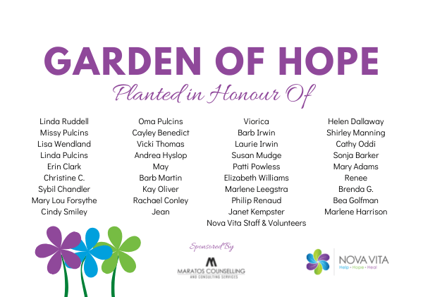 garden of hope planted in honour of
