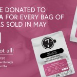 """Image of coffee bags with text """"$5 will be donated to Nova Vita for every bag of honduras sold in May"""""""